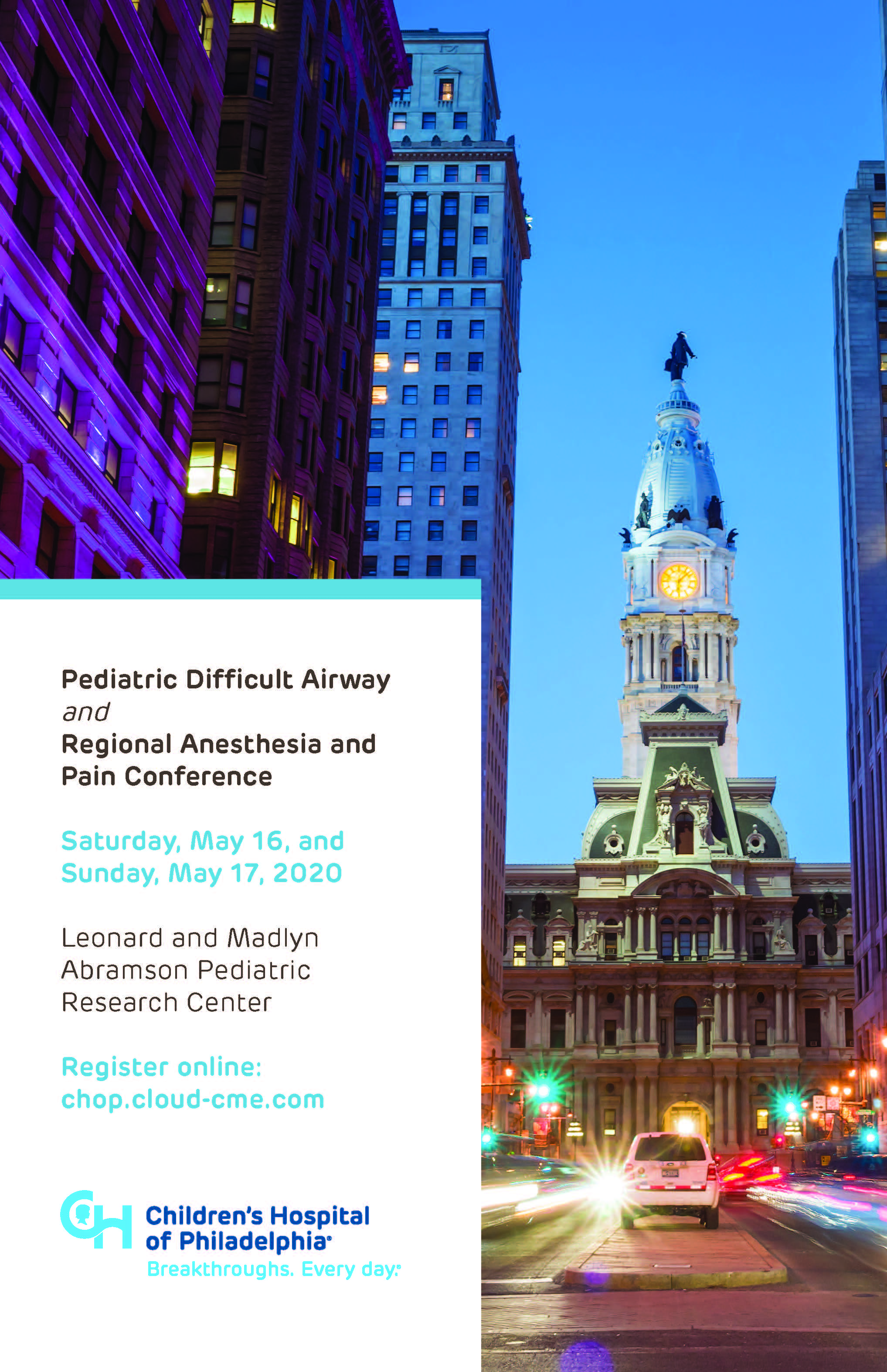 Pediatric Difficult Airway and Regional Anesthesia and Pain Conference Banner