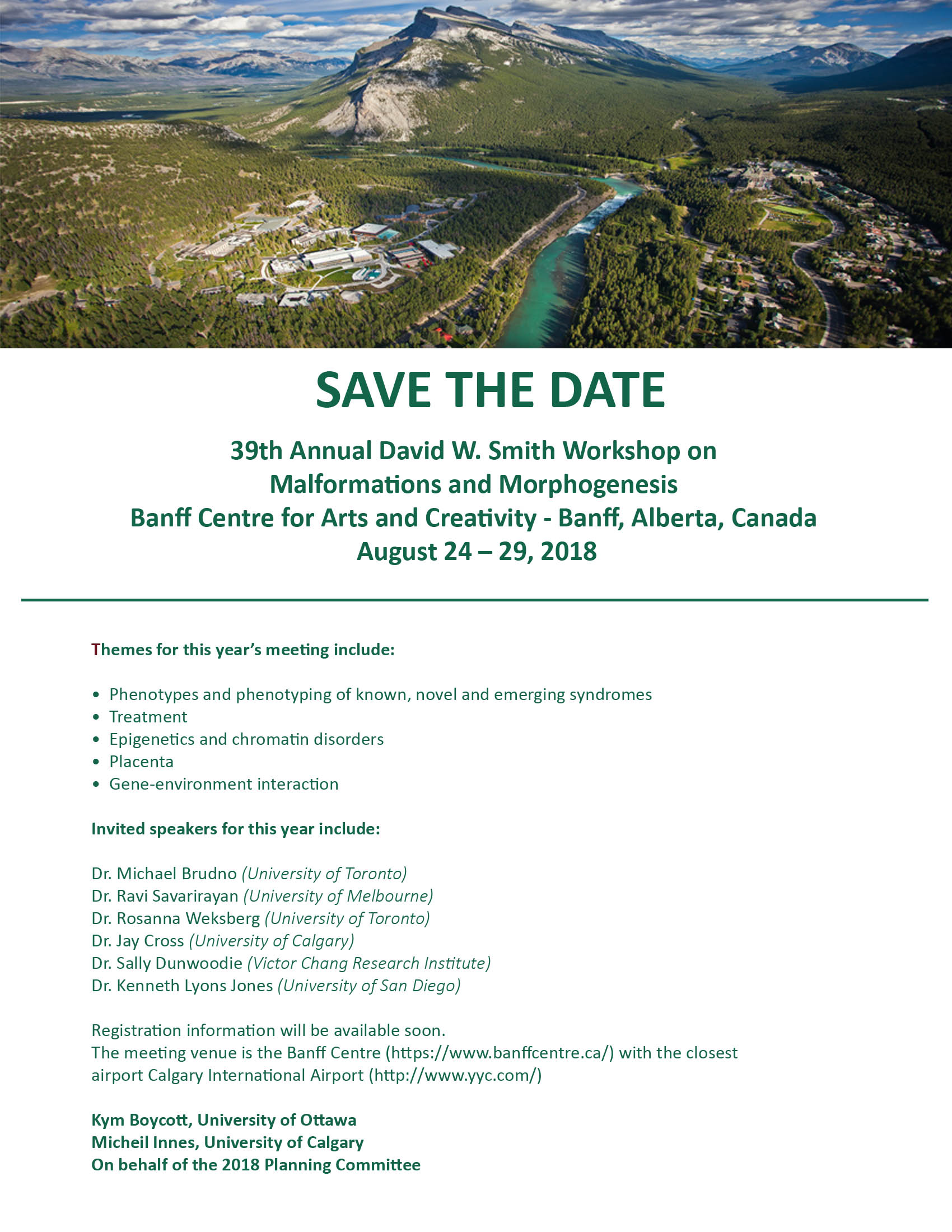 39th Annual David W. Smith Workshop on Malformations and Morphogenesis Banner